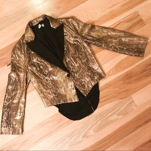 Robbi & Nikki Gold Sequin SnakePrint Tuxedo Jacket